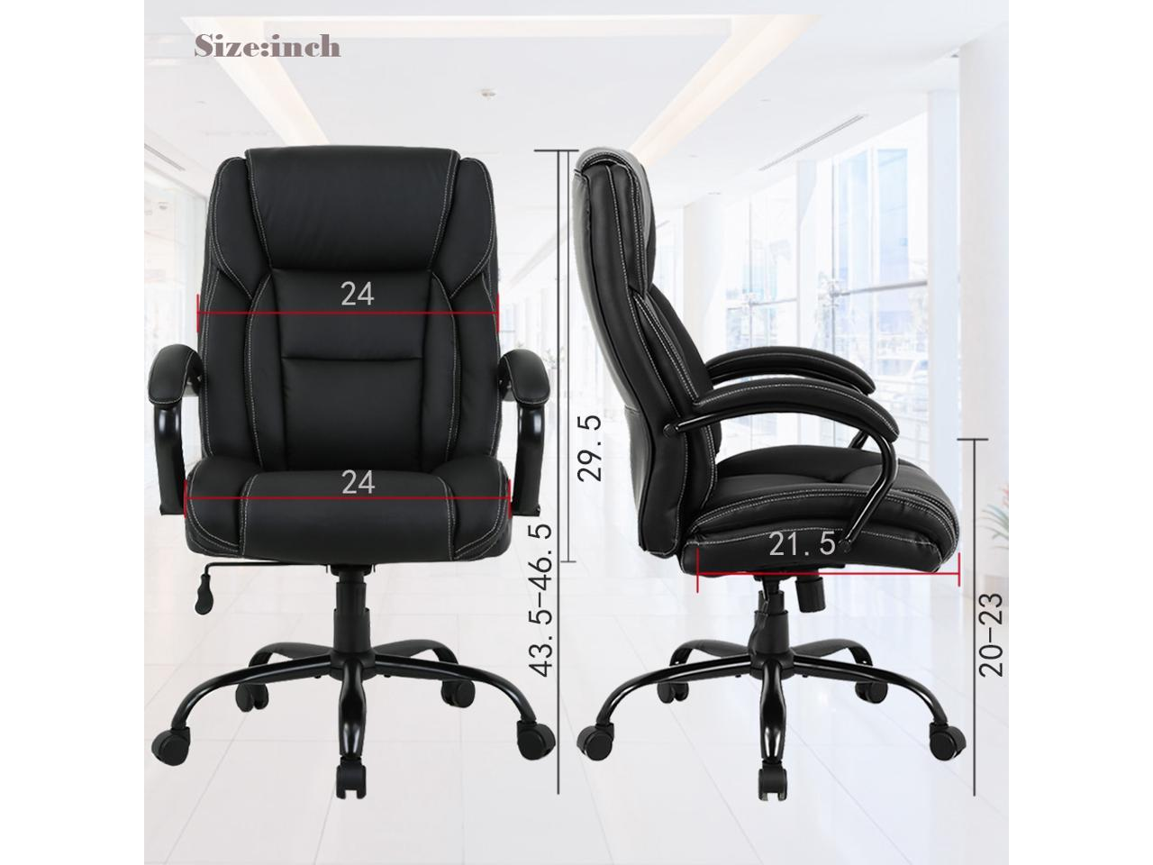 High Back Big And Tall Office Chair 500lb Executive Chair Ergonomic Pu Desk Task Chair Rolling Swivel Chair Adjustable Computer Chair With Lumbar Support Headrest Leather Chair For Women Men Black Newegg Com
