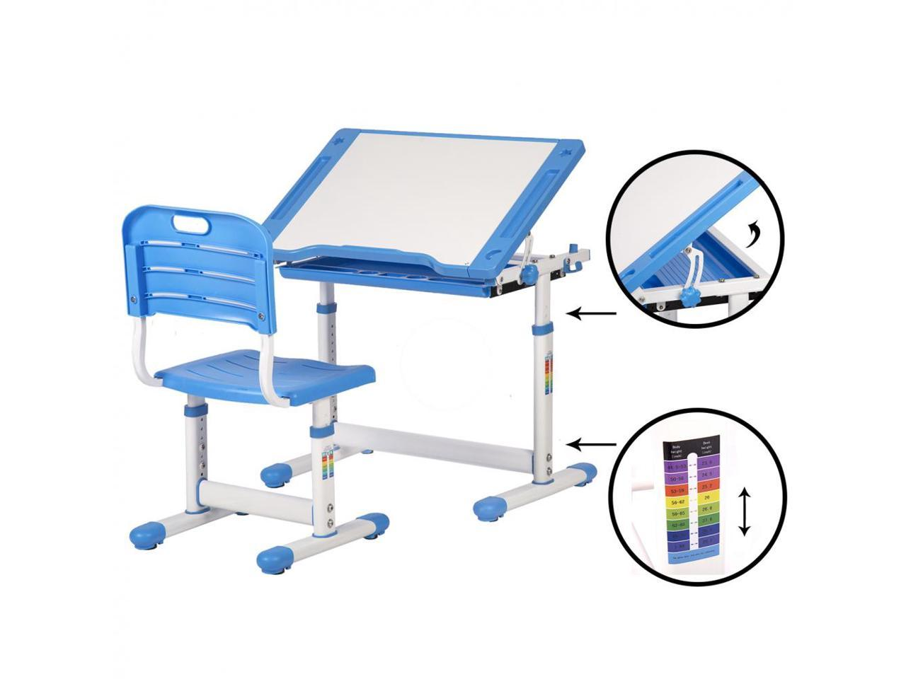 Image of: Blue Adjustable Children S Desk Chair Set Child Study Desk Kids Study Table Xlq Newegg Com