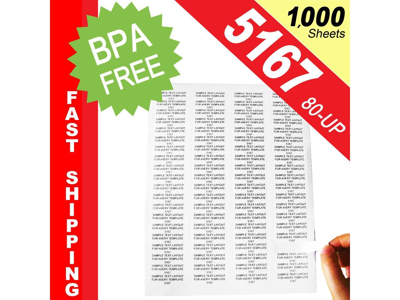 100 Sheets BPA Free HouseLabels Same Size As 5167 White Address Labels 8,000 Labels 1-34 x 0.5 80-UP