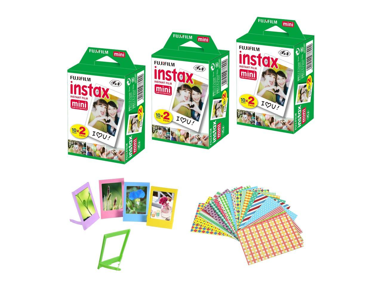 10 Paper Frames Fujifilm Instax Camera Mini Instant Film Sheets + 5 Picture Frames 3 Twin Packs 60 Sticker Frames. 60 Total Pictures