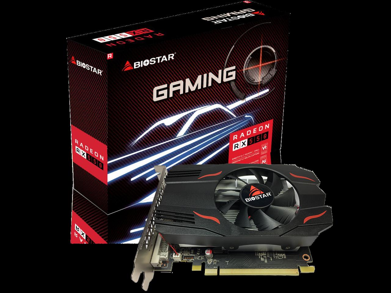 Biostar Gaming Radeon Rx 550 4gb Gddr5 128 Bit Directx 12 Pci Express 3 0 Dvi D Dual Link Hdmi Displayport Newegg Com