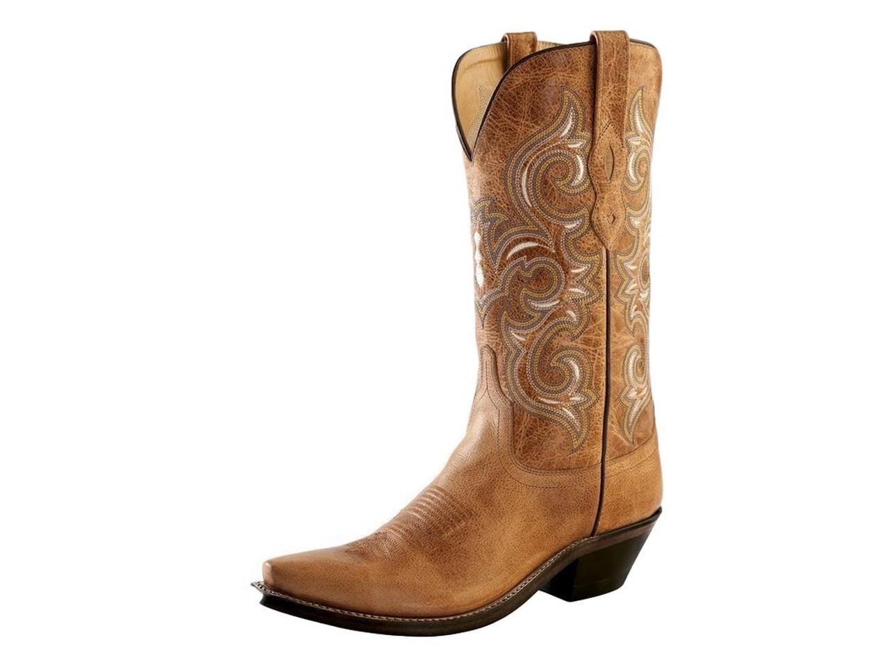 Old West Cowboy Boots Womens Snip Toe B Leather Lined 7 B Toe Tan Fry LF1541 bffcb6