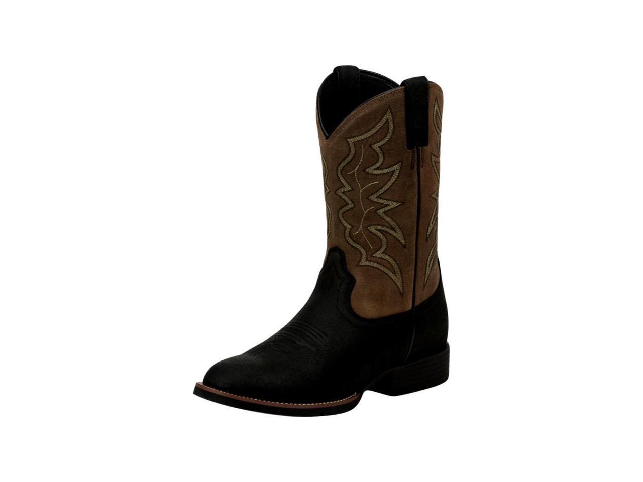Justin Western Boots Mens Black Stampede Buster 9 EE Black Mens Tan 7220 27bb53
