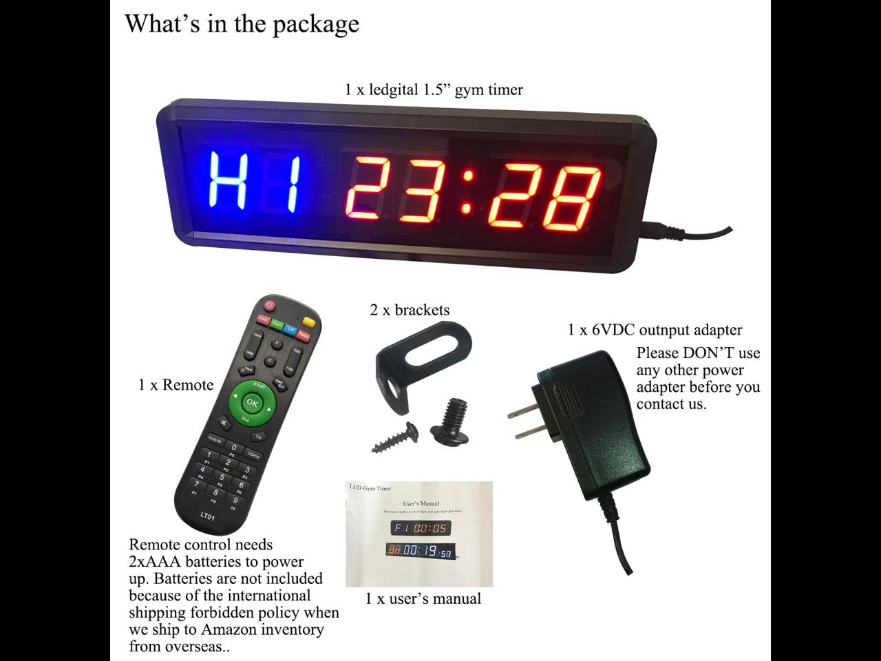 Tabata Alrigon LED Interval Timer Clock 1.5 Digits Down/Up Clock ...
