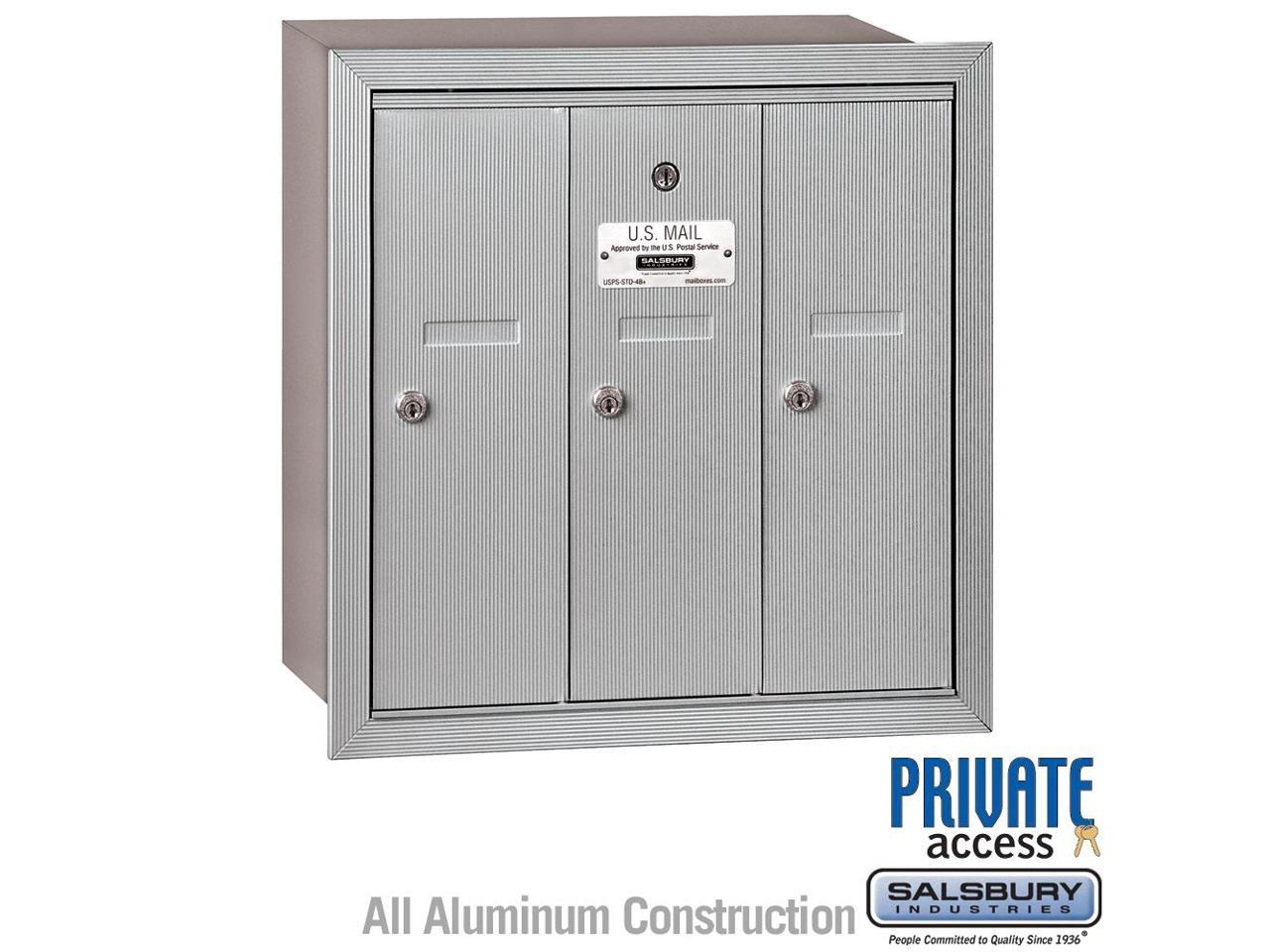 Aluminum Salsbury Industries 3504ASU Surface Mounted Vertical Mailbox with 4 Doors and USPS Access