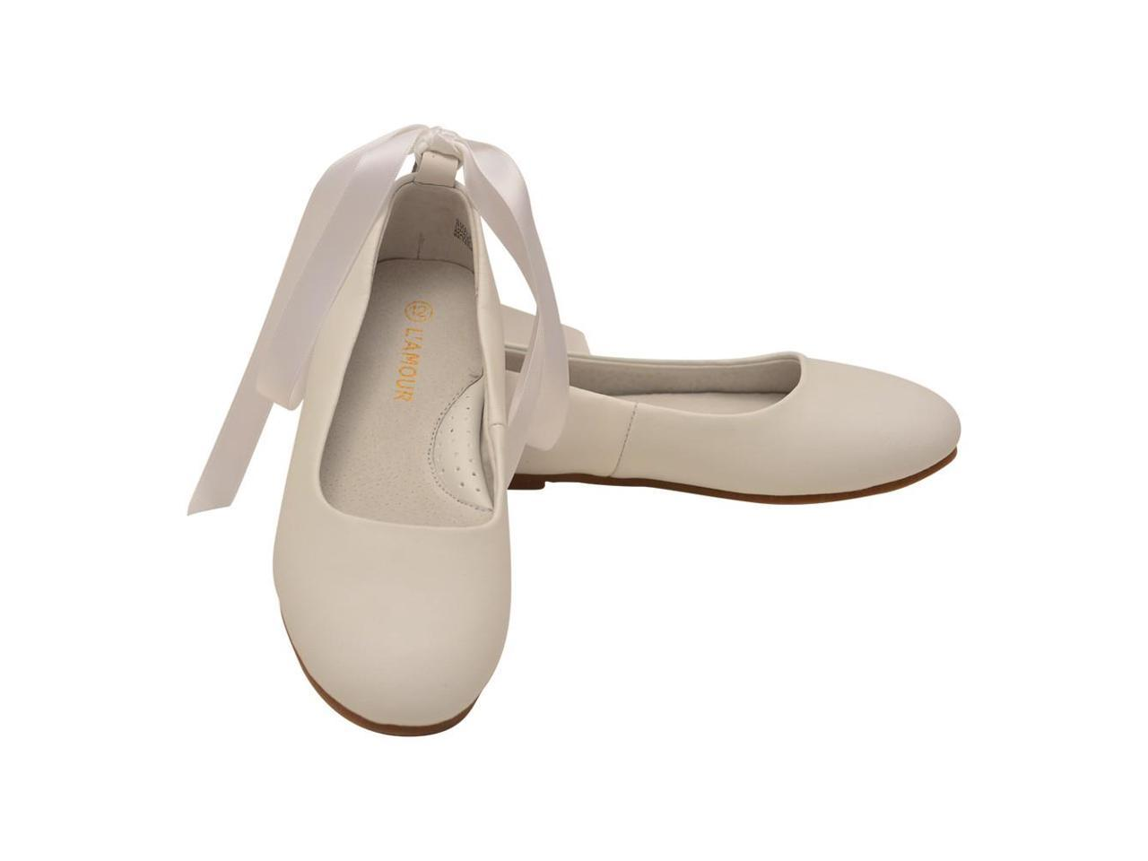 L'Amour Little Strap Girls White Leather Removable Satin Strap Little Flats 9 Toddler 52d4b6