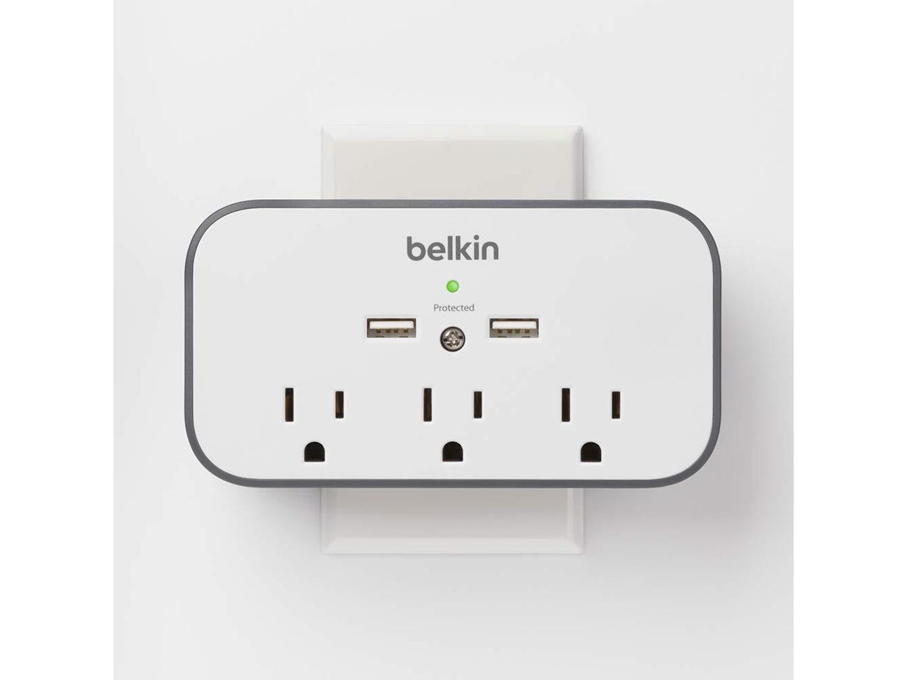 Model:BSV300ttCW Gray//White Belkin 3-Outlet Wall Mount Cradle Surge Protector with Dual USB Charging Ports 2.4 Amp Total