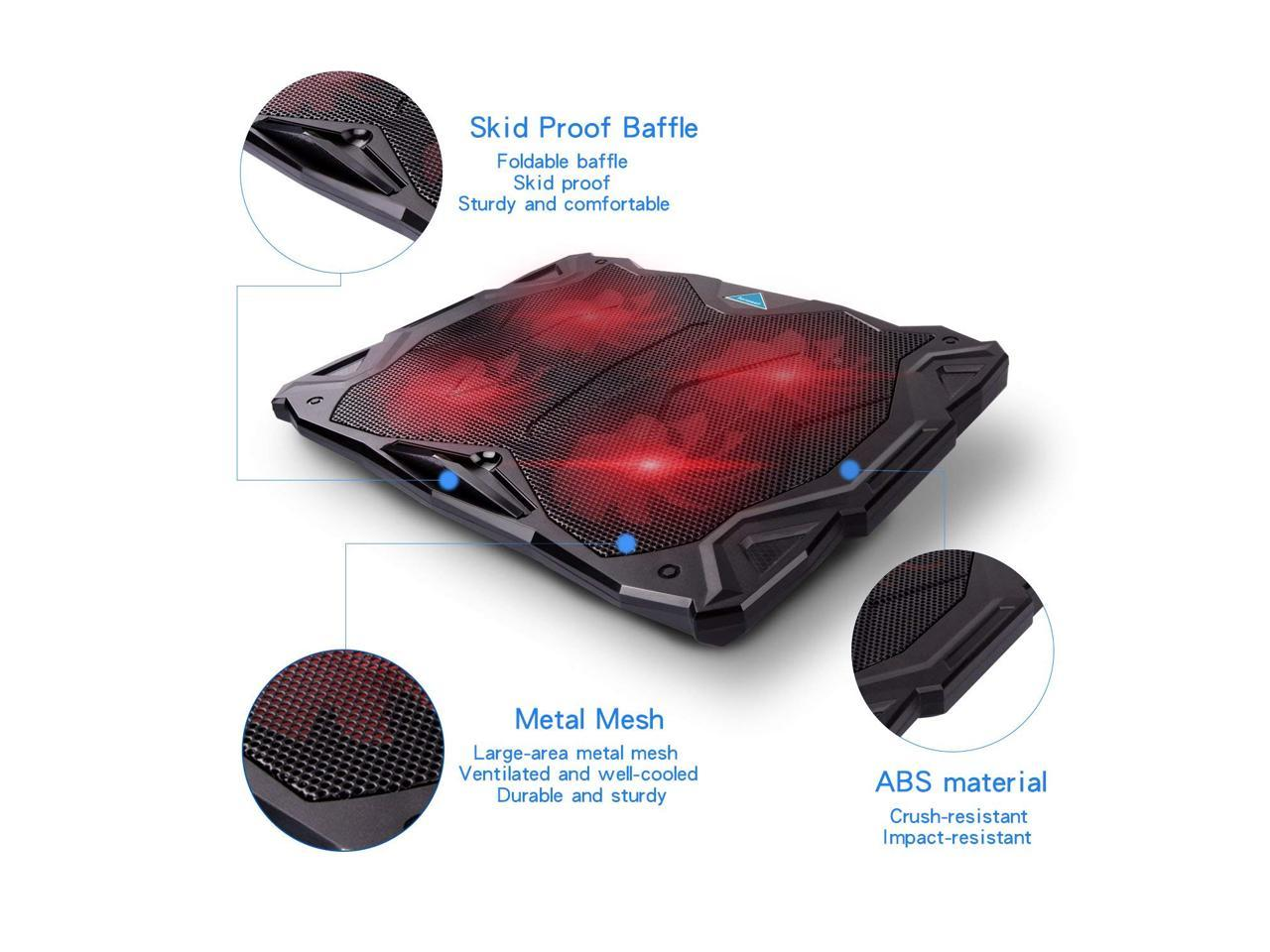 Fits 11-17 Inches Portable Ultra-Slim Quiet Laptop Notebook Cooler Cooling Pad Stand with 4 USB Powered Fans Tenswall Laptop Cooling Pad