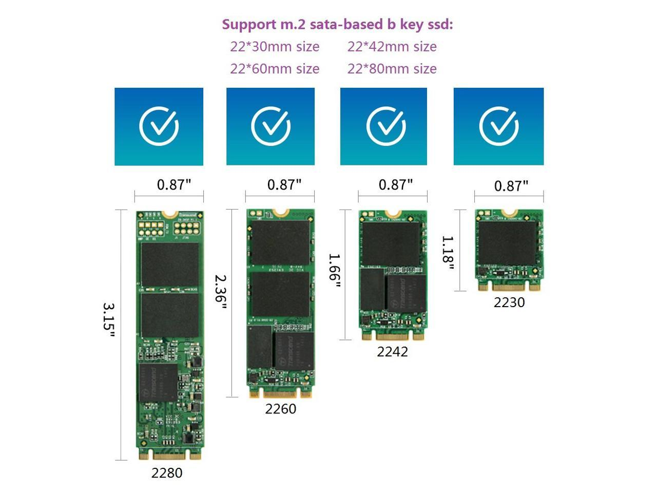 M.2 NGFF SSD Hard Drive to 2.5 inch 22-Pin 7mm SATA Drive with Metal Frame Distributed by NAC Wire and Cables