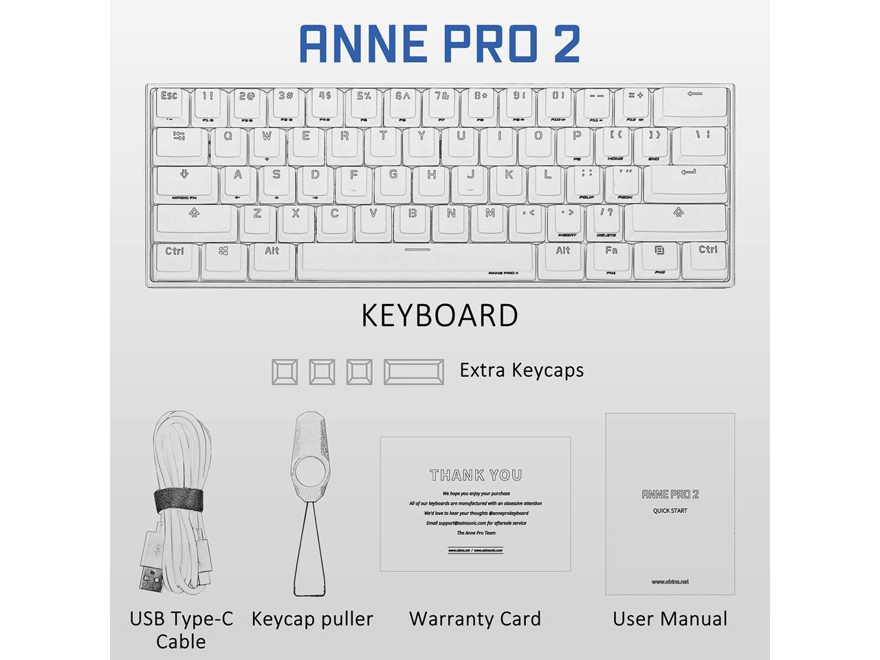 Anne Pro 2 60  Mechanical Keyboard Wired  Wireless Dual