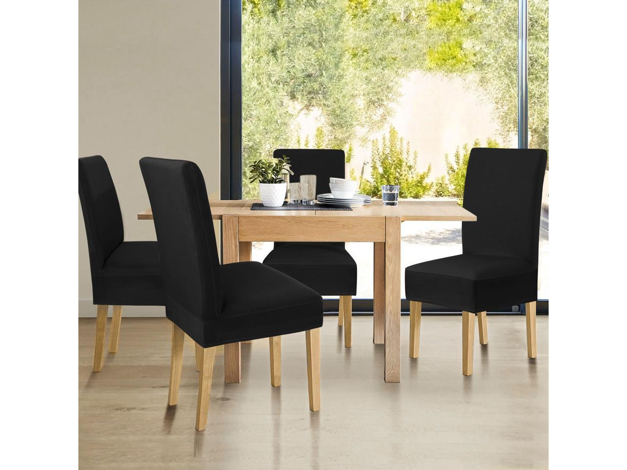 Spandex Stretch Washable Short Dining Chair Cover Protector Seat Slipcover Black Newegg Com