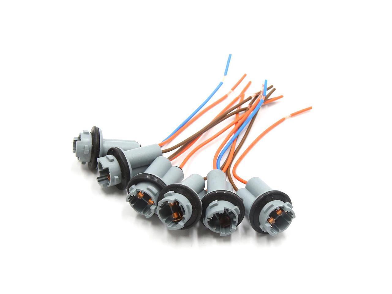 6Pcs Plastic Car T10 Light Lamp Bulb Extension Wiring Harness Socket Connector