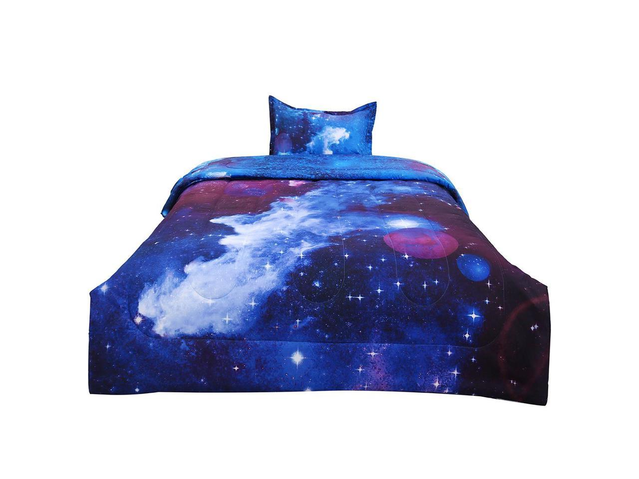 Twin 2 Piece Galaxies Dark Blue Comforter Sets 3d Space Themed All Season Down Alternative Quilted Duvet Reversible Design Includes 1 Comforter 1 Pillow Case Newegg Com