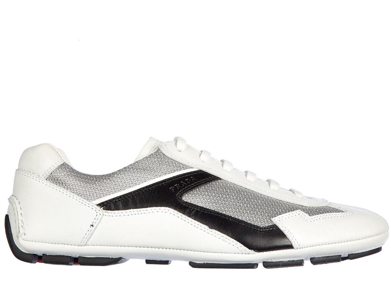 PRADA MEN'S SNEAKERS SHOES LEATHER TRAINERS SNEAKERS MEN'S PLUME BIKE WHITE 300af8