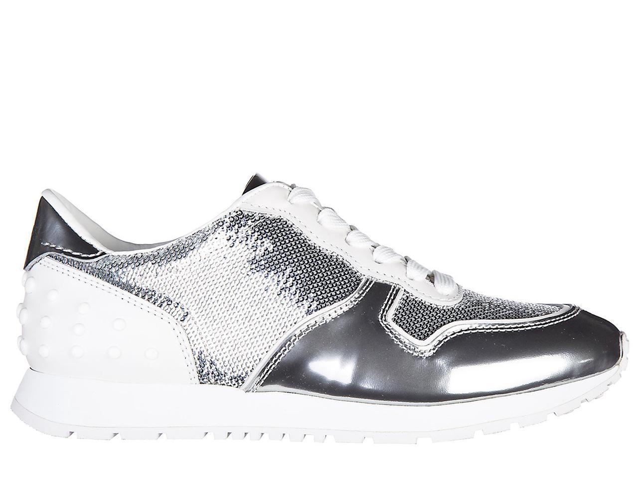 Tod's women's shoes leather allccaiata trainers sneakers nuove sportivo allccaiata leather silver 5c6dd2