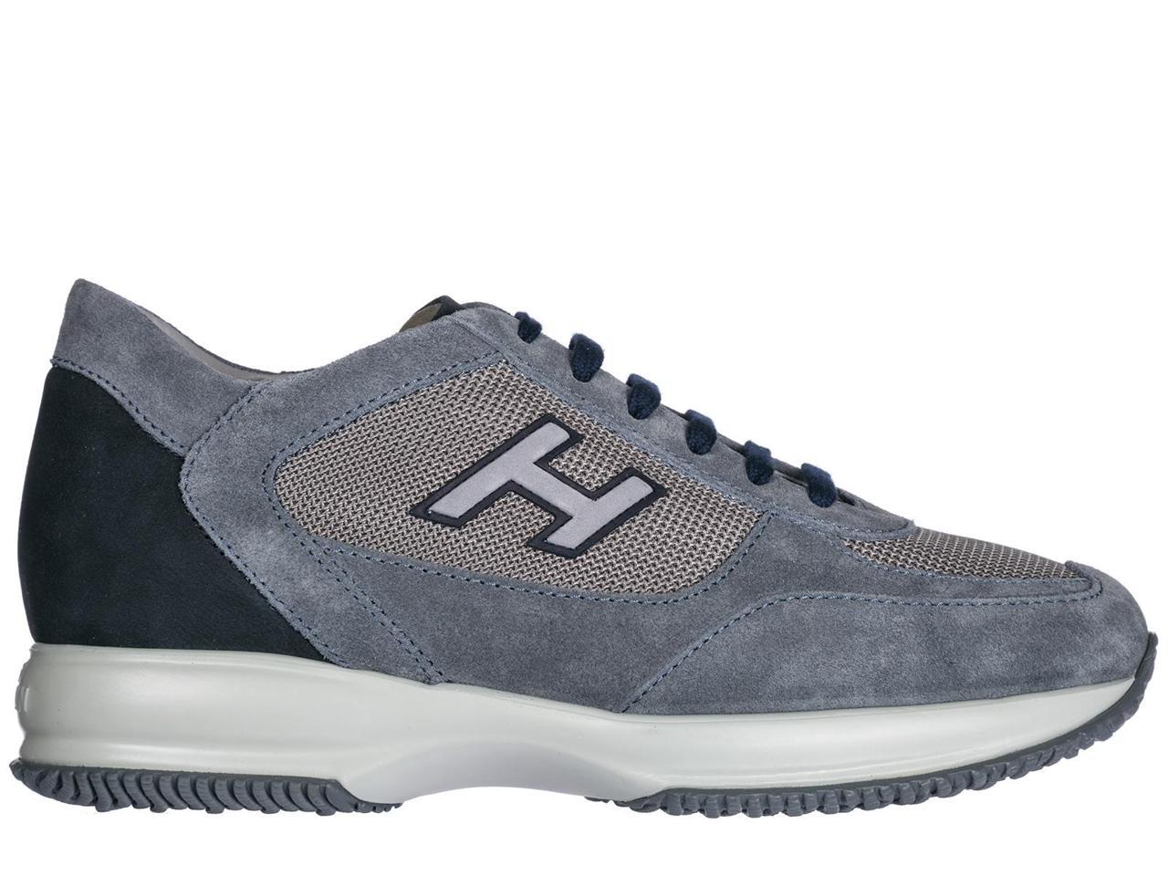 HOGAN MEN'S SHOES SUEDE TRAINERS SNEAKERS BLUE INTERACTIVE H FLOCK BLUE SNEAKERS a84577