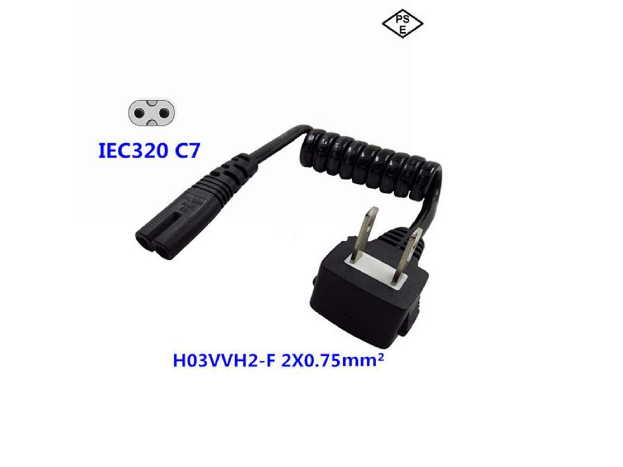 LED HDTV - NEMA 1-15P to IEC320 C7 Figure 8 Shotgun Connector AC Supply Cable Wire Socket Plug Jack Compatible with Apple TV Black TNP Universal 2 Prong Power Cord PS3 Slim 1 Feet PS4