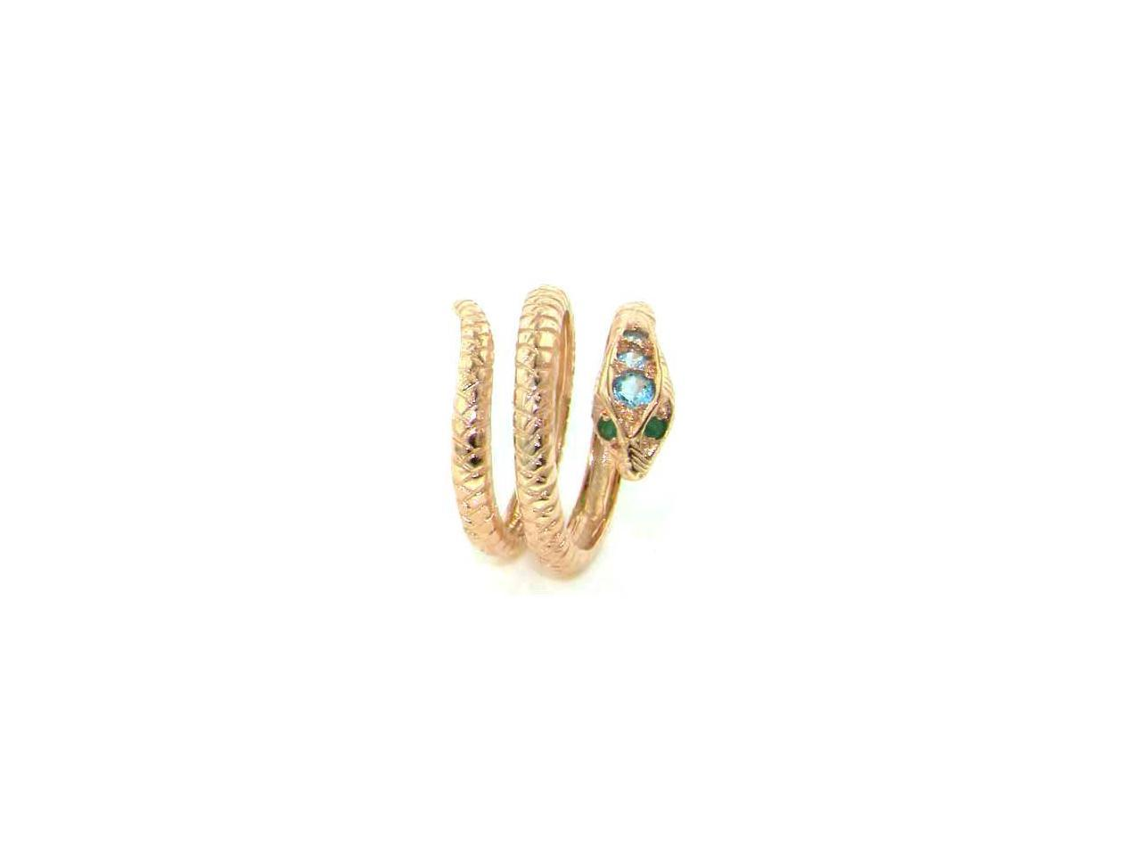 Fabulous Solid 925 Sterling Silver Natural Blue Topaz /& Ruby Detailed Snake Ring