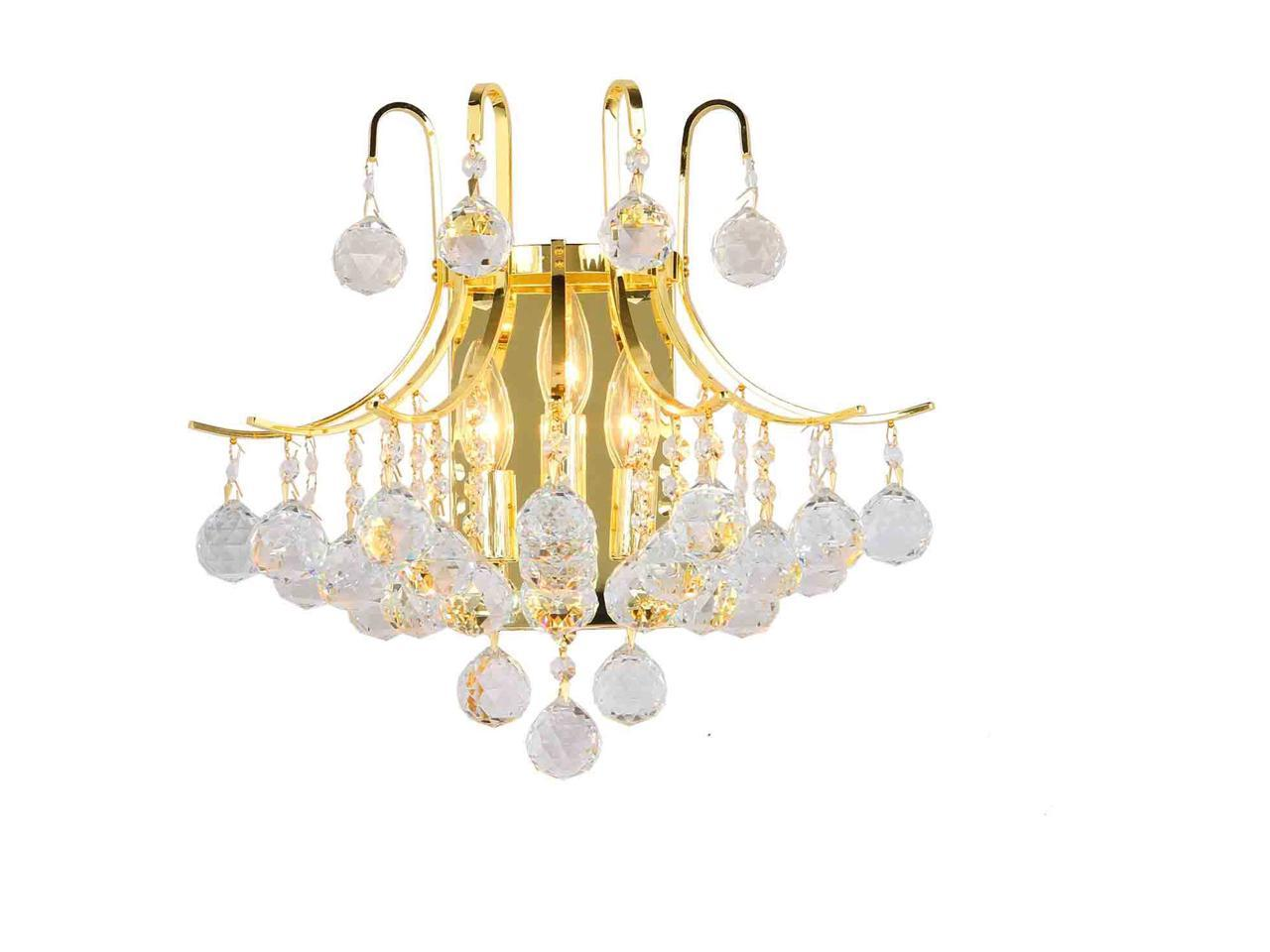 Image of: Empire Collection 3 Light Gold Finish And Clear Crystal Wall Sconce Light Newegg Com