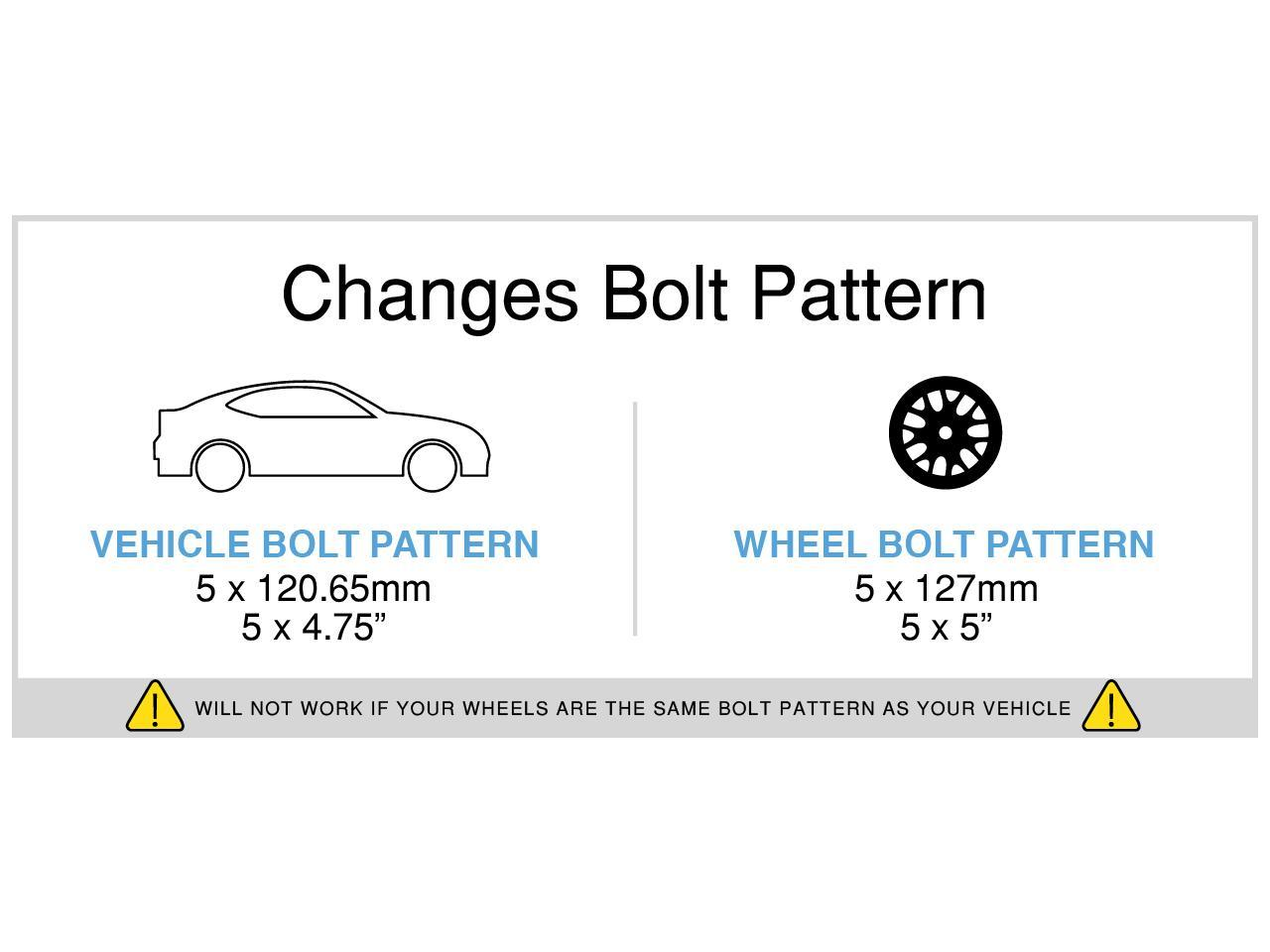1984-2013 Corvette Changes Bolt Pattern StanceMagic 2pcs 1 inch Wheel Adapters 5x4.75 to 5x4.5 with 12x1.5 studs for Chevy 1982-2003 Camaro S10 GMC Jimmy S15 Pontiac Firebird GTO Trans Am