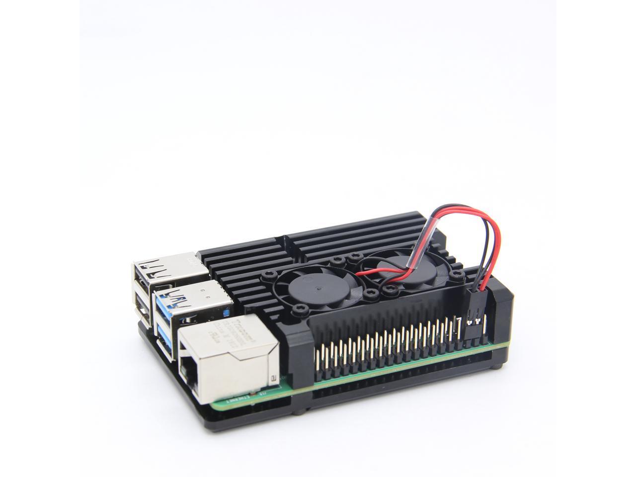 Heatsinks Cooling Shell Aluminum Alloy Cooling Shell Heatsink Housing Black with Fan Fit for Raspberry Pi 4 Model B