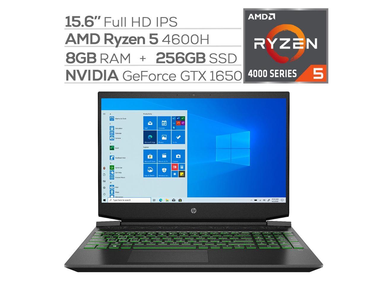 Hp Pavilion Gaming 15 Laptop Amd Ryzen 5 4600h 6 Core Up To 4 0 Ghz Gtx 1650 8gb Ram 256gb Pcie Nvme Ssd 15 6 Full Hd Backlit Kb Win 10 Newegg Com
