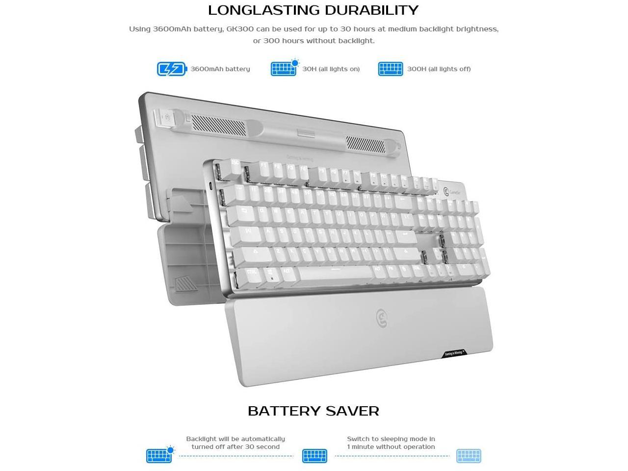 GameSir GK300 Wireless Gaming Keyboard,Connect with 2.4GHz Wireless/&Bluetooth,TTC Mechanical Switches LED Backlit 104 Keys