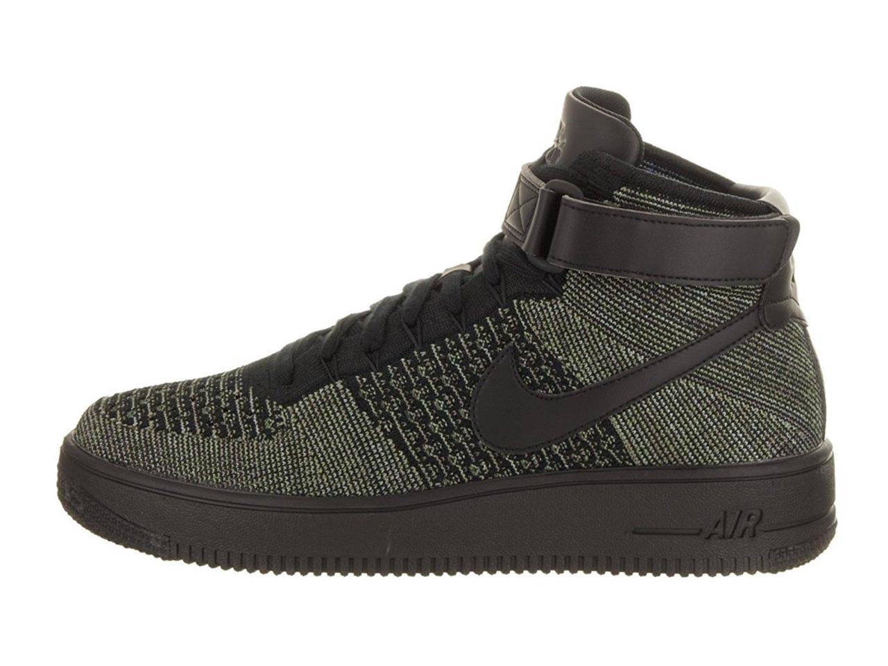 Nike Men's AF1 Mid Ultra Flyknit Mid AF1 Basketball Shoes-Black/Green-9.5 c9cd6a