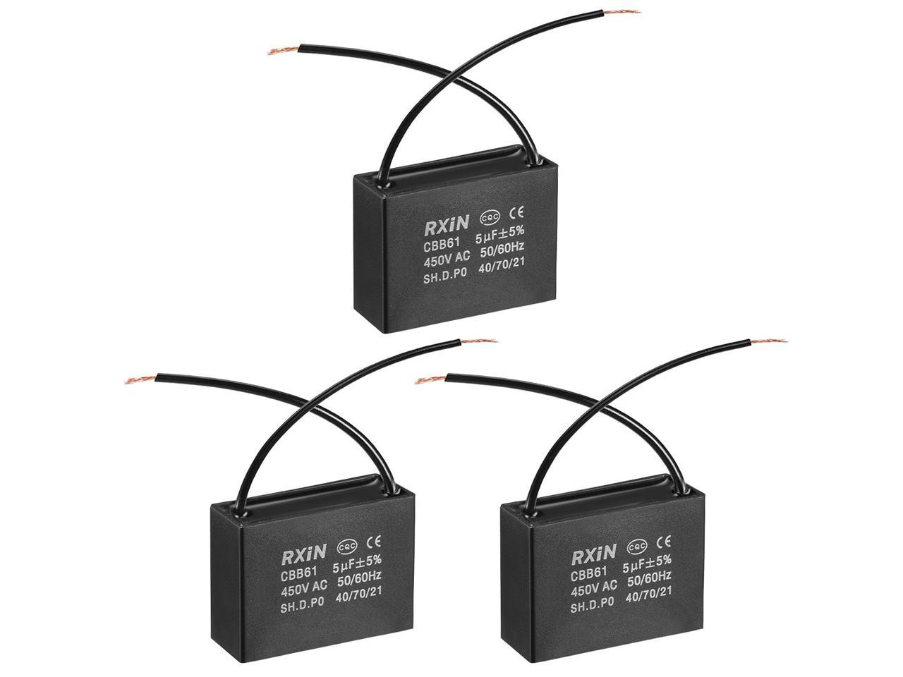 Cbb61 Run Capacitor 450v Ac 5uf 2 Wires Metallized