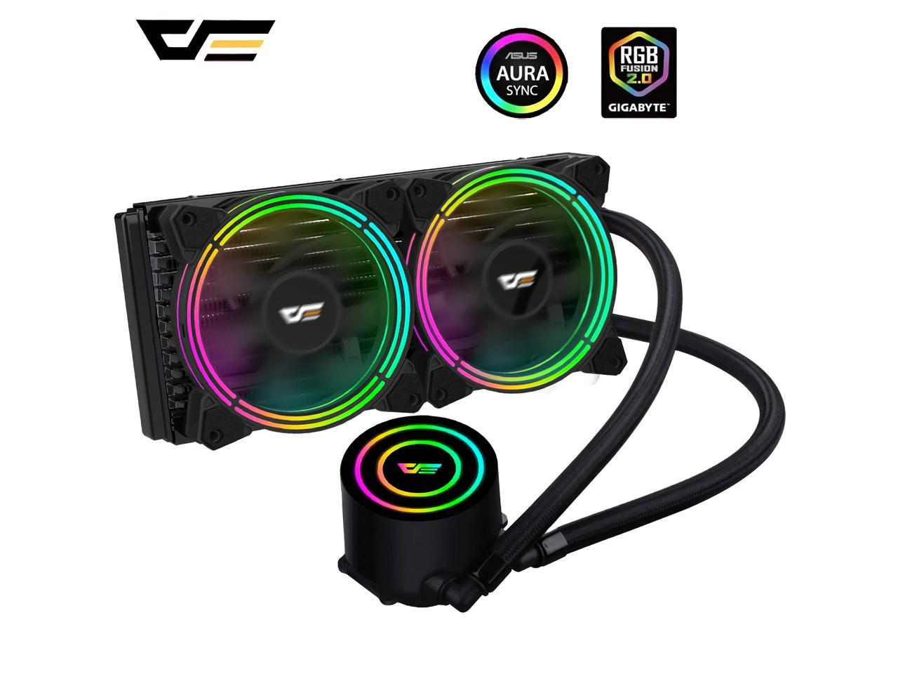 Darkflash Pc Case Water Liquid Cooling Aio Cooler Radiator Pwm Rgb Led Sync Water Cooler Cpu For Lga 2011 115x 2066 Am4 Am3 Newegg Com