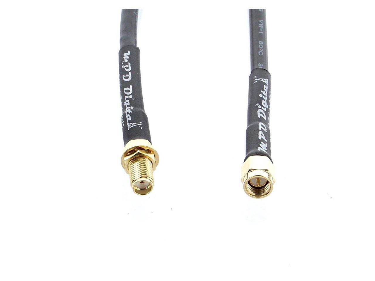 RF Pigtail Cable RP-TNC Female to RP-SMA Male RG58 50 cm RG-58 Coax Jumper Made in The U.S.A TM by MPD Digital