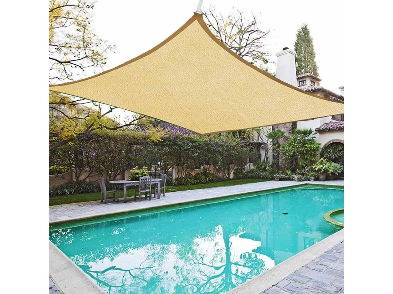 18x18 Square Sun Shade Sail Patio Deck Beach Garden Outdoor Canopy Cover Uv Blocking Newegg Com