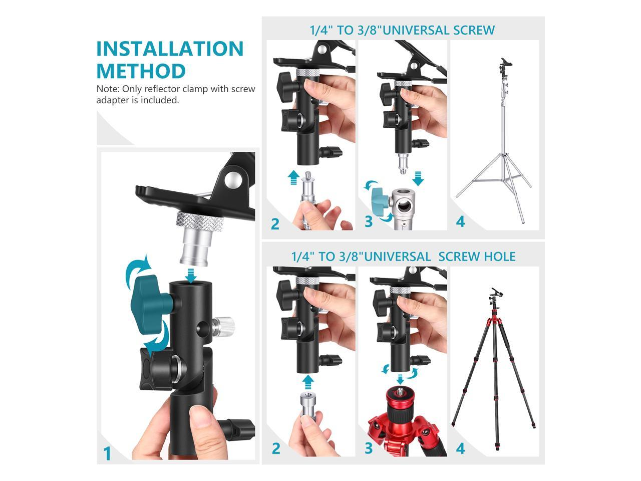 Light Stand Bracket Mount LED Light Neewer Photo Studio Reflector Holder Metal Clamp Holder with 1//4 inch-3//8 inch Tilt Screw Adapter and Umbrella Hole for Reflector Studio Flash Umbrella