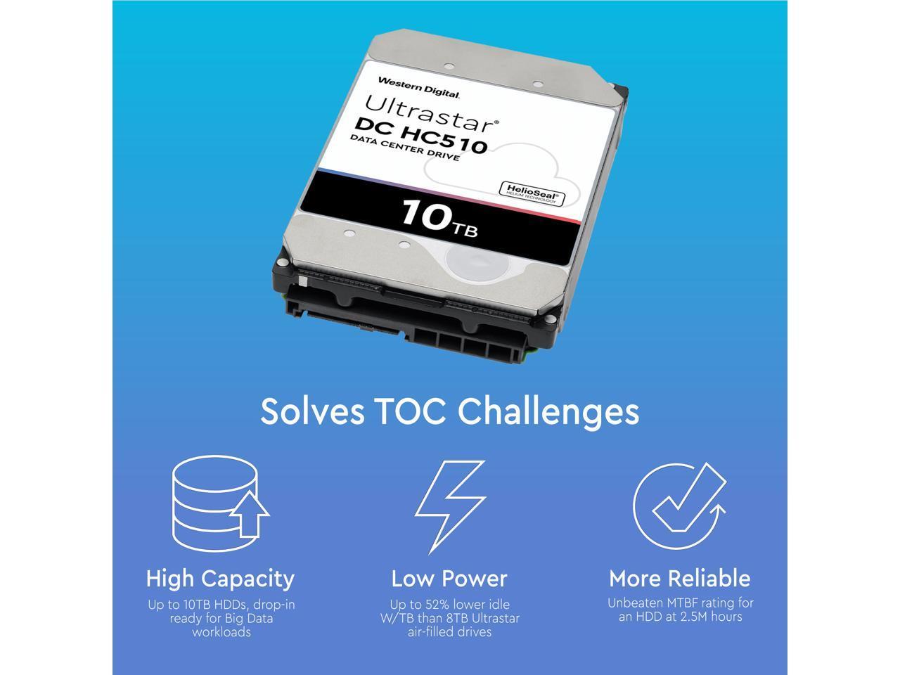 Renewed HGST Ultrastar He10 10TB SATA 6Gb//s 7200 RPM 256MB Cache 3.5-Inch Enterprise Hard Drive HUH721010ALE604