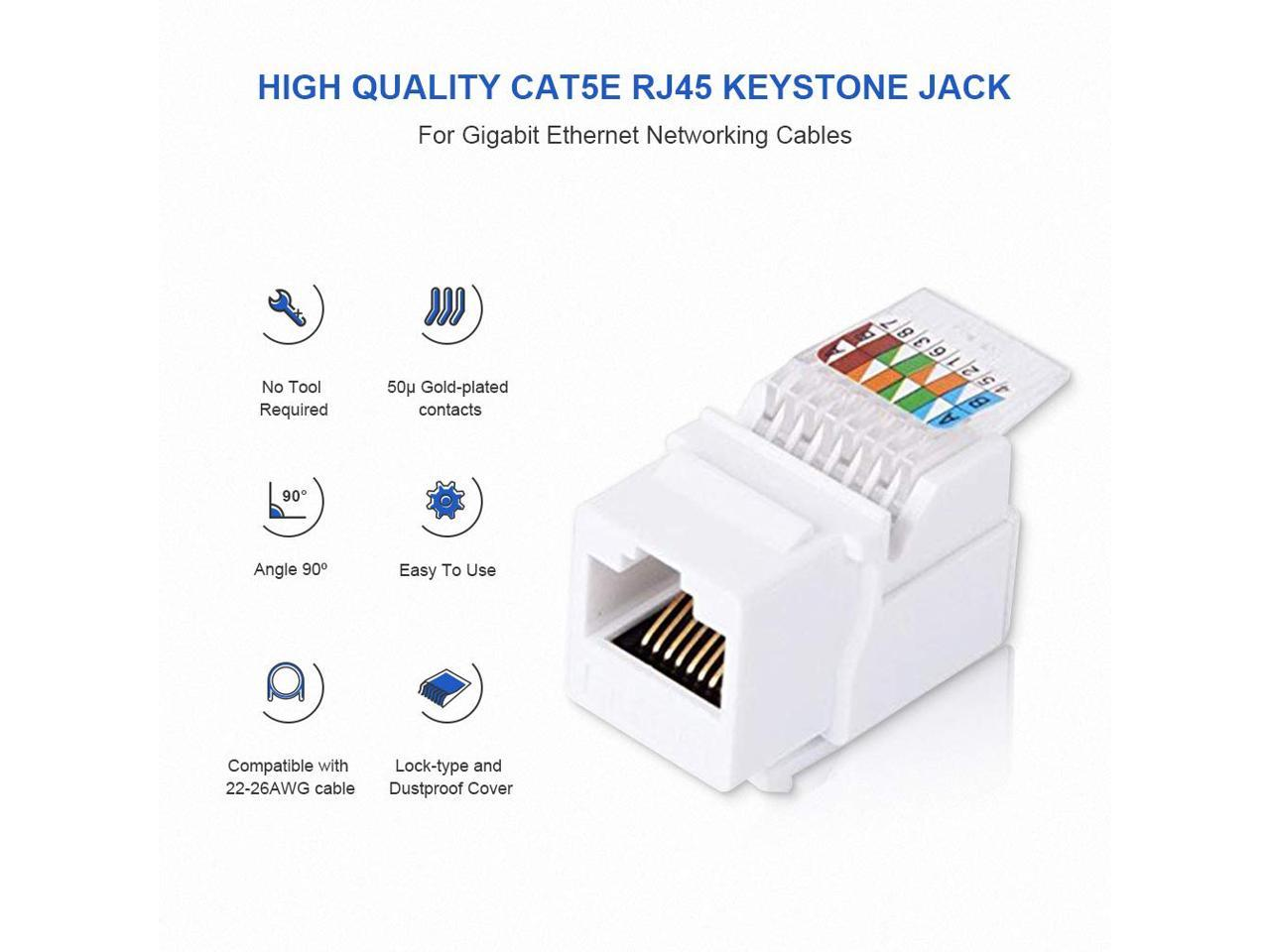 with 1port Rj 45 Keystone Wall Plate White Color Vastercable Cat5e Punch Down Keystone Jack ORANGE Color 10 PCS // PACK