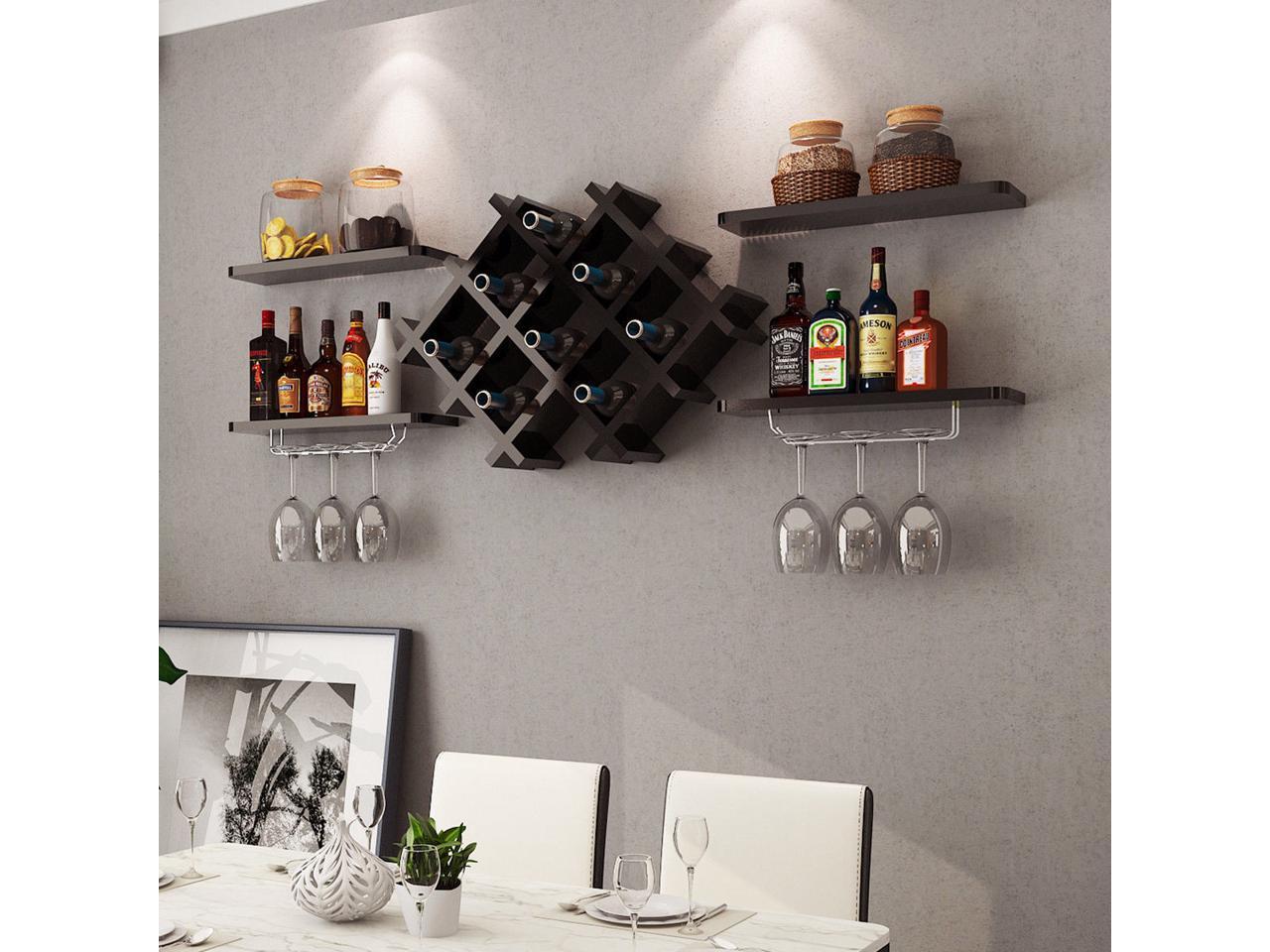 Set of 5 Wall Mount Wine Rack Set Storage Shelves and Glass Holder White