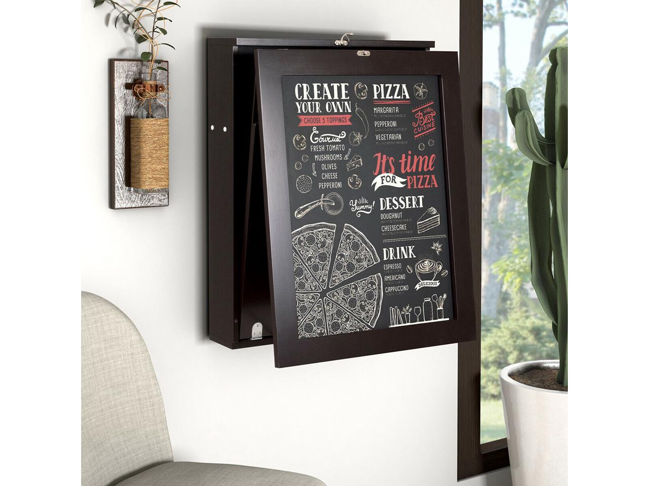 Wall Mount Table Fold Out Convertible Desk Space Saver Chalkboard Coffee