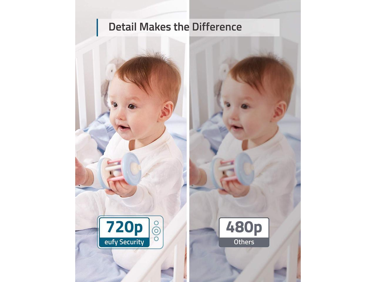"""Lullaby Player Pan /& Tilt Not Supported Temperature Alert Large 5/"""" Display 720p Resolution eufy Security Video Baby Monitor All-Day Battery Night Vision 2-Way Audio Ideal for New Moms"""