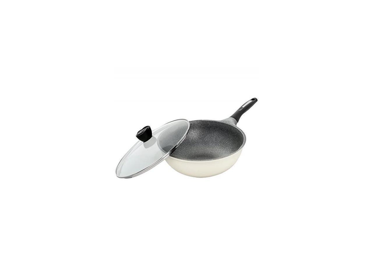Concord Premium Inoble Coated Ultra Non Stick Wok Deep Frying Pan Cookware Set Antique White Newegg Com