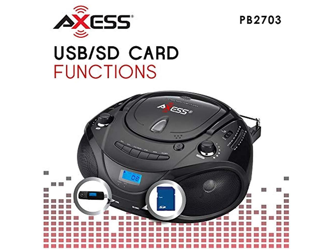 AXESS PB2703BK Portable MP3/CD Boombox with AM/FM Stereo ...