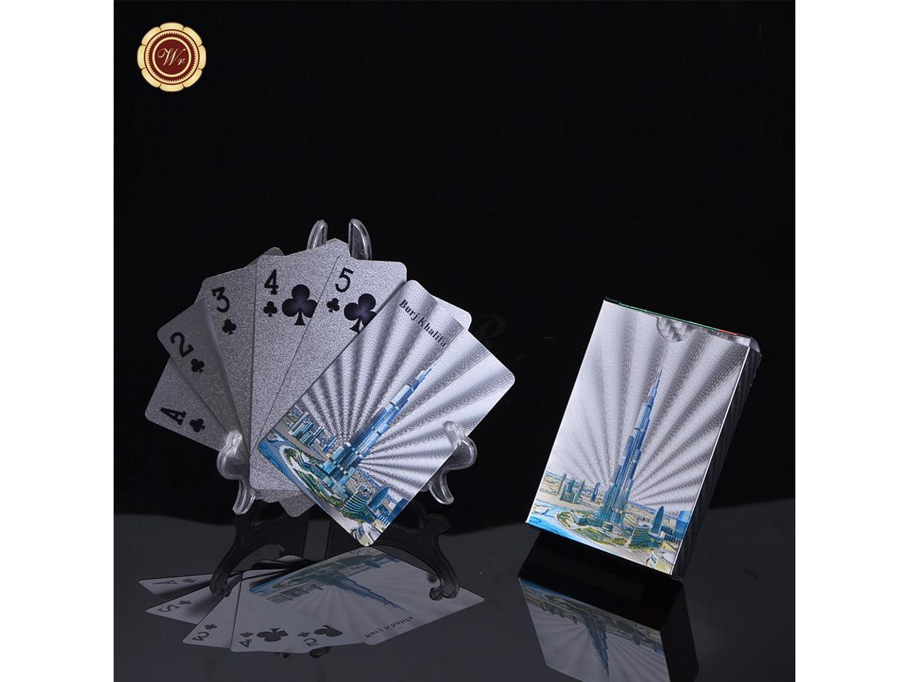 Wr Burj Khalifa Tower Silver Plated Chips Dubai Famous Building Colored Poker Cards Art Crafts For Collectible Family Games Newegg Com