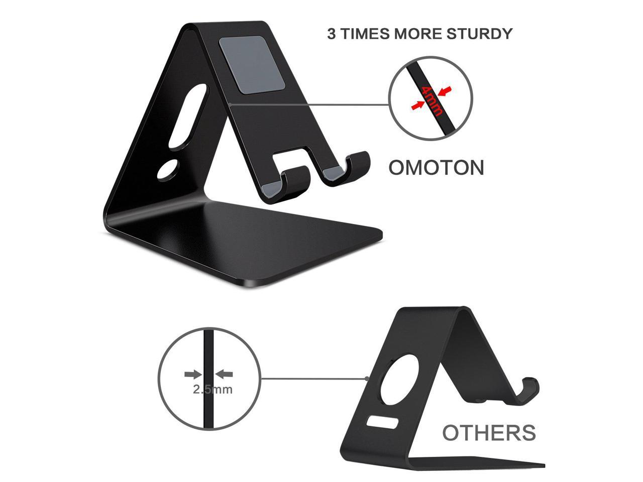 up to 10.1 inch Advanced 4mm Thickness Aluminum Stand Holder Mobile Phone Tablet Updated Solid Version OMOTON Desktop Cell Phone Stand Tablet Stand Black
