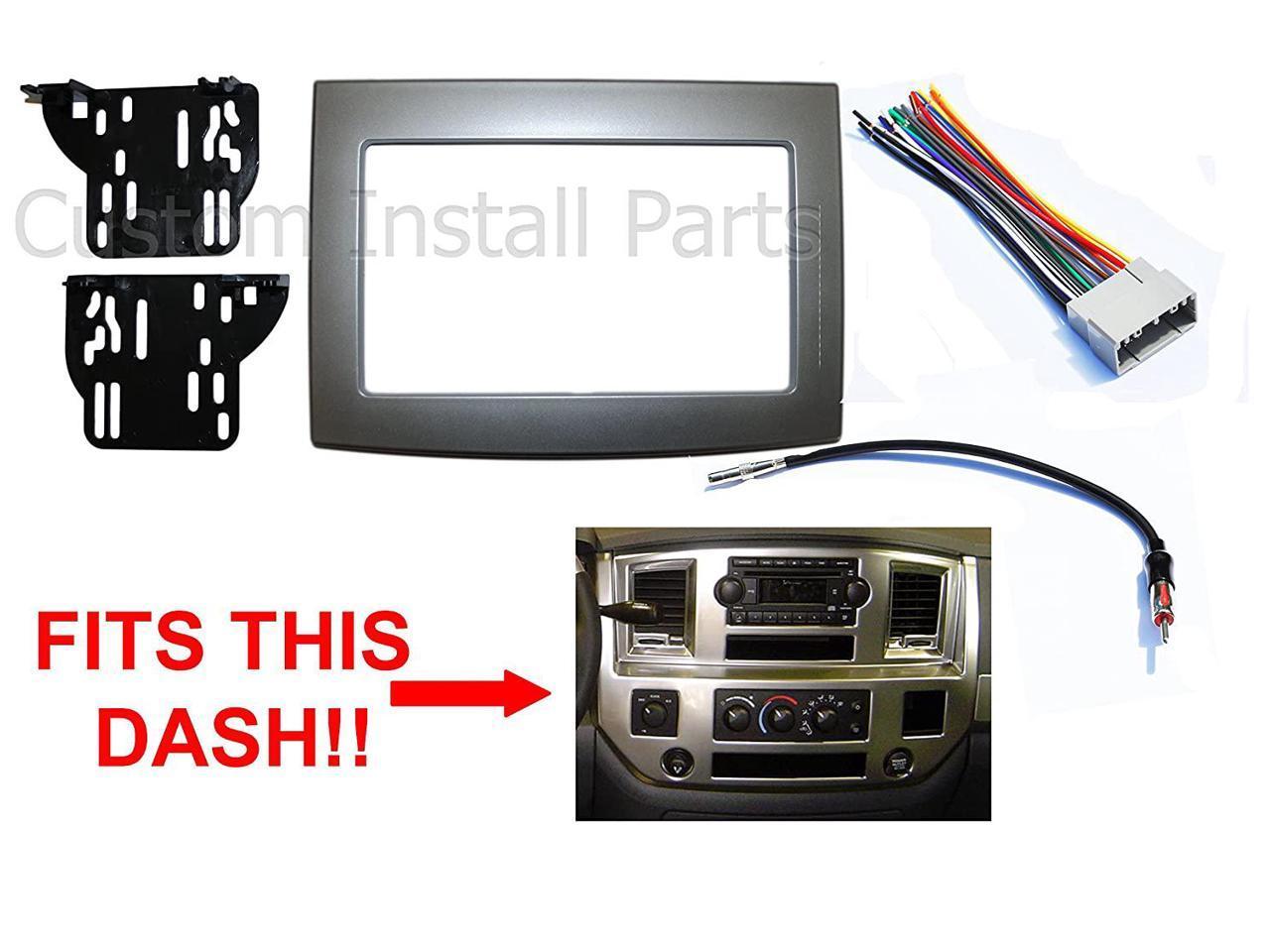 Silver Double Din Dash Install Kit w/Wiring Harness Radio Stereo Fits Dodge  Ram - Newegg.comNewegg