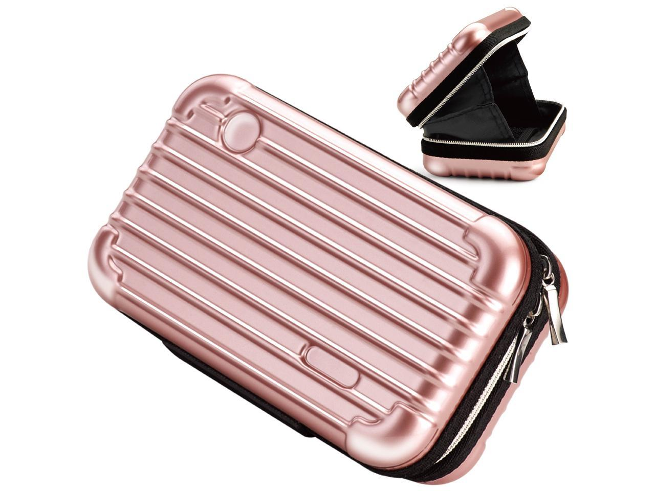 E Books U5 Beauty Makeup Overnight Travel Carrying Cosmetic Toiletry Train Hard Bags Handbag Cases Organizer With Zipper And Inner Pocket Water Resistant Crashproof Shockproof For Women Rose Gold Newegg Com