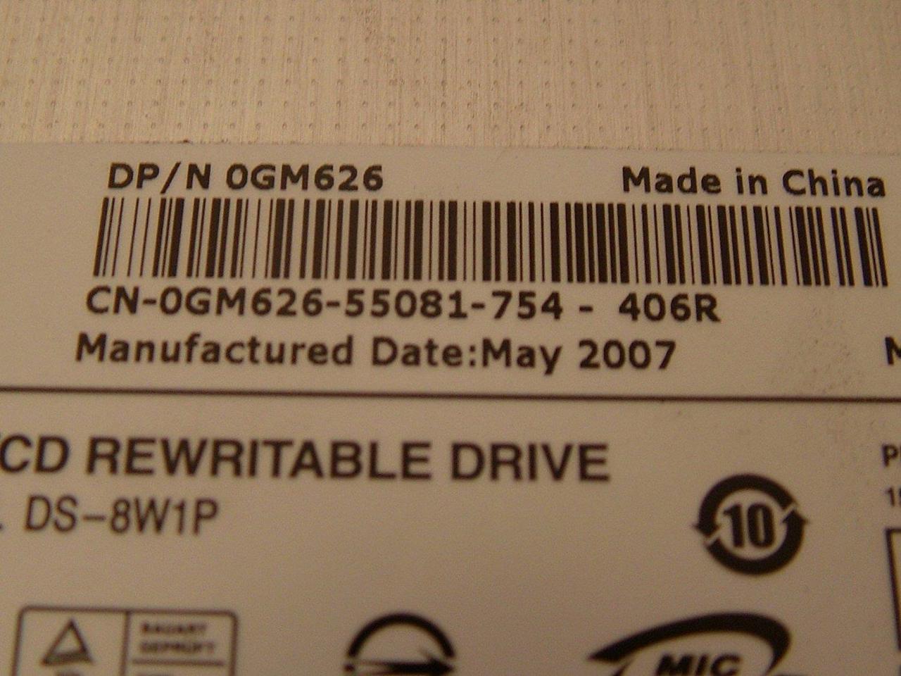 Dell DVD-RW Drive Black DS-8W1P GM626 Inspiron E1505 6400