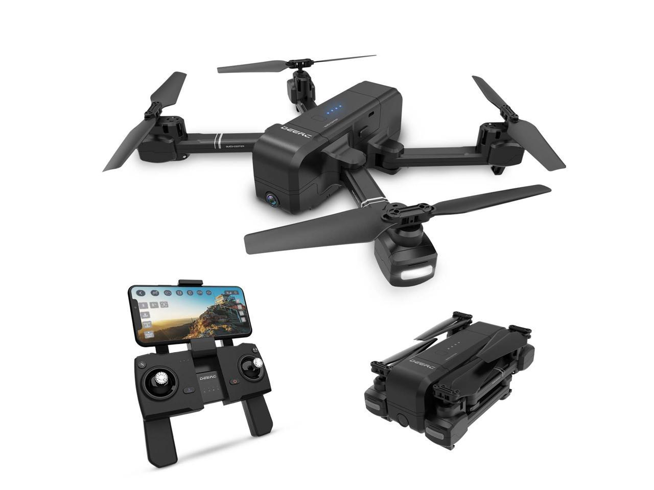 DEERC Foldable GPS Wifi FPV Drone with 1080P Camera, Gesture Photo/Video, Custom Flight, DE25, Black