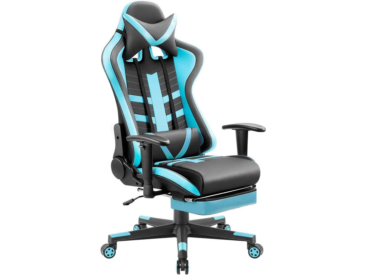 Picture of: Homall Gaming Chair With Thickened Footrest Ergonomic Swivel Racing High Back Bucket Seat Premium Pu Leather Reclining Hydraulic Height Adjustment Lumbar Support Adjustable Armrest Blue Black Newegg Com
