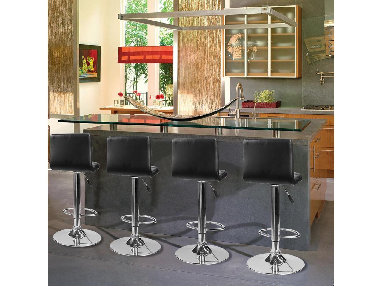 Homall Bar Stools Modern PU Leather Adjustable Swivel Barstools, Armless  Hydraulic Kitchen Counter Bar Stool Synthetic Leather Extra Height Square  ...
