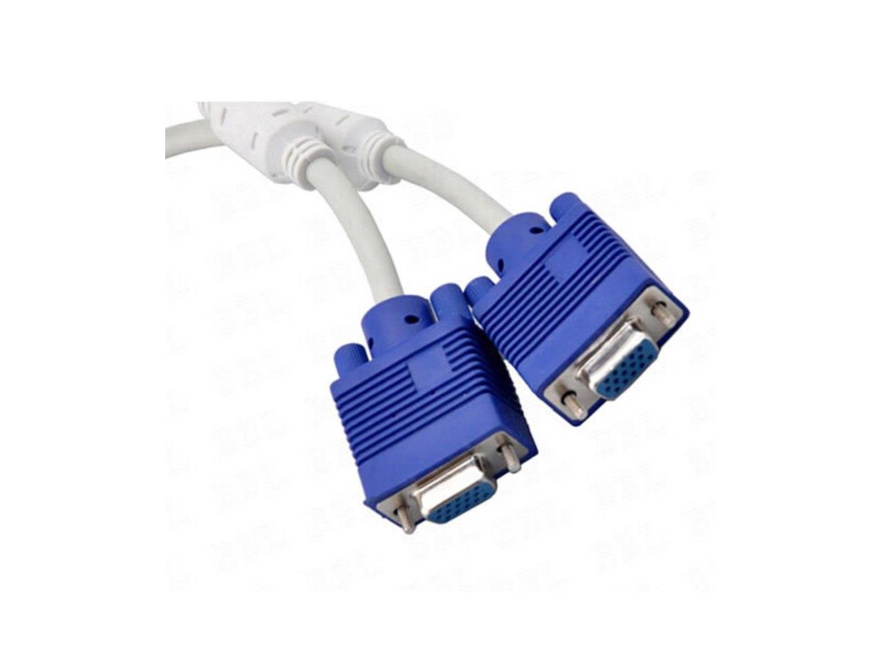 BestOfferBuy 15 Pin VGA Male to 2 Dual VGA Female Video Monitor Splitter Cable