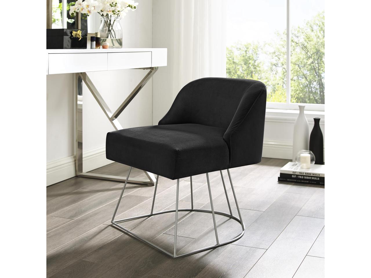 Inspired Home Samik Velvet Vanity Stool Black Newegg Com